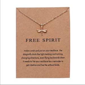 Dainty Gold Necklace w/ Dragonfly Pendant
